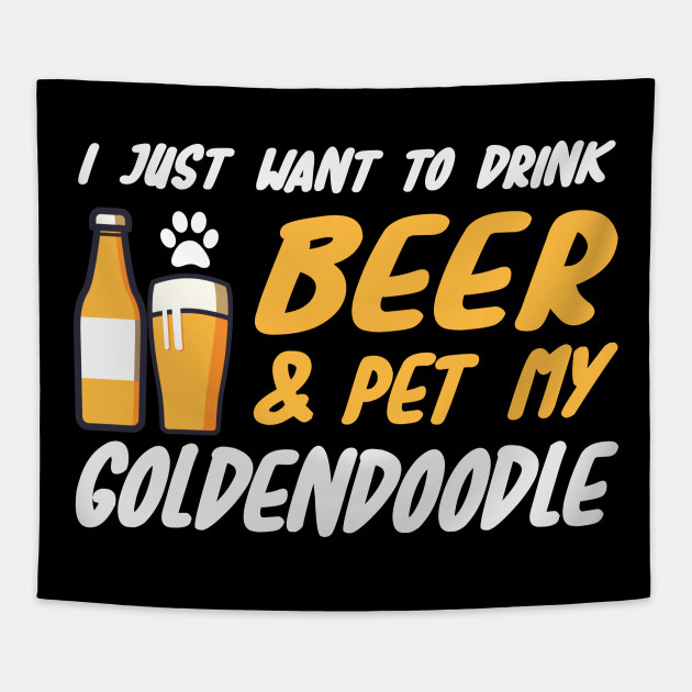 0dfbead27 Beer and Goldendoodle Shirt Funny Dog Mom or Dog Dad Gift Tapestry