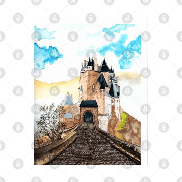 Berg Eltz Castle watercolor painting