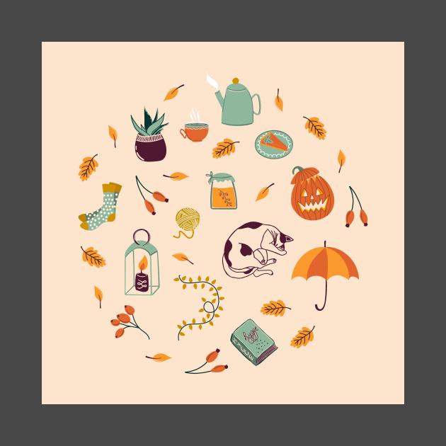 Set of different autumn elements