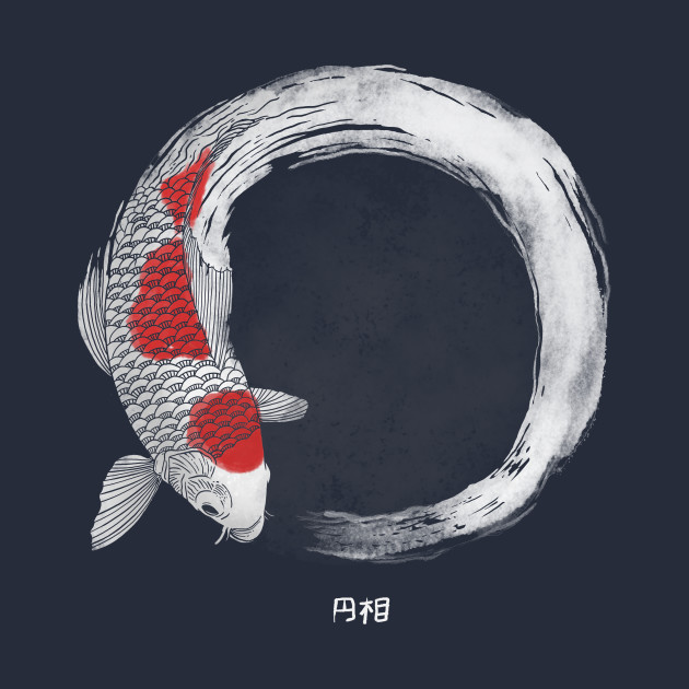 Koi fish white enso koi t shirt teepublic for Koi fish size