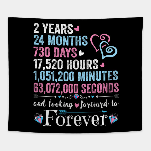 2nd Wedding Anniversary Shirt Matching Couple 2 Years Wedding Marriage Gift For Husband And Wife 2nd Wedding Anniversary Tapestry Teepublic