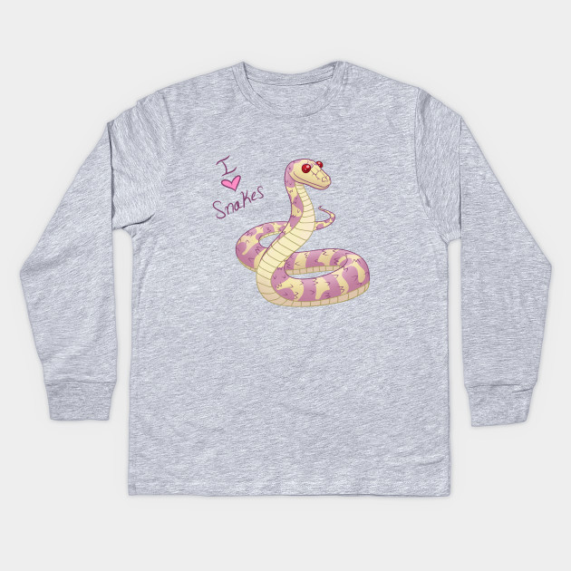 I Love Heart Snakes Pink Kids T-Shirt