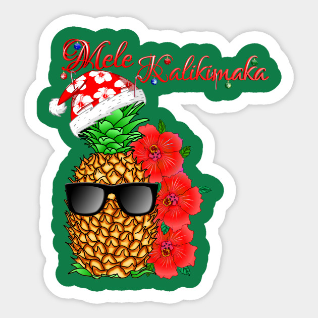 Hawaiian Merry Christmas.Mele Kalikimaka Hawaiian Merry Christmas Pineapple