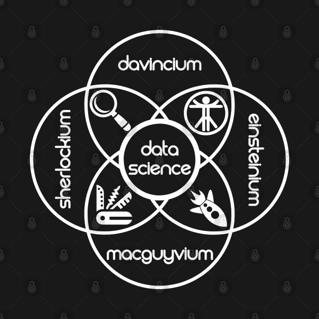 Data Science Periodic Venn Diagram of Elements | Vintage Retro Hipster Logo White