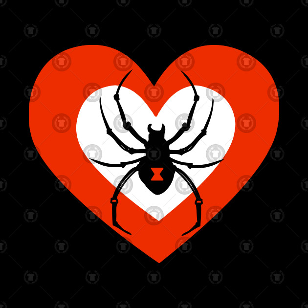 Cute Black Widow Spider Heart