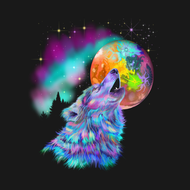 Colorful Rainbow Howling Wolf