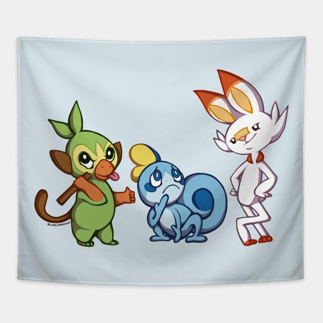 Pokemon Sword And Shield Starters Pokemon Tapestry Teepublic