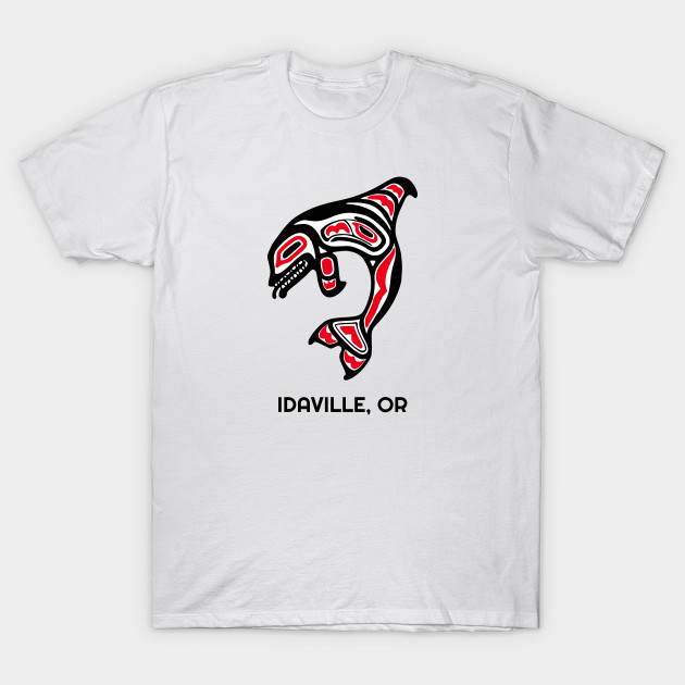 Idaville, Oregon Red Orca Killer Whales Native American Indian Tribal Gift T-Shirt