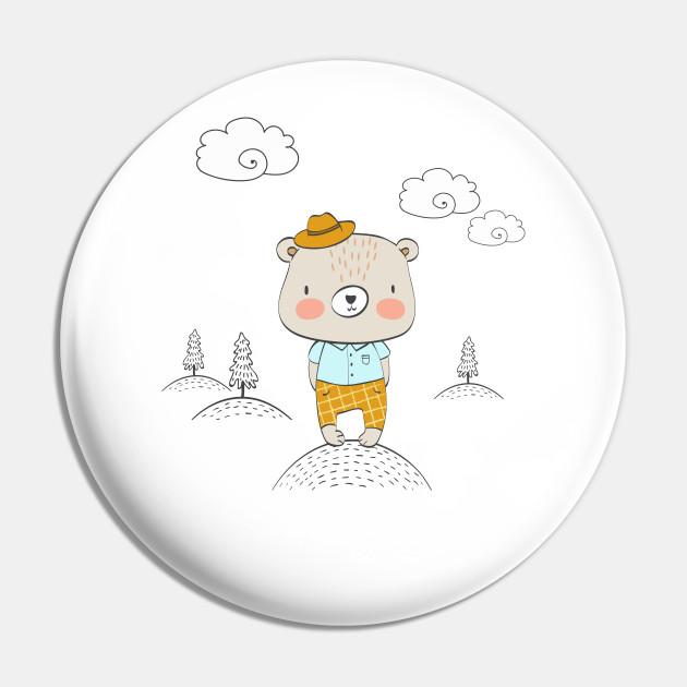 Cartoon cute bear little gentleman
