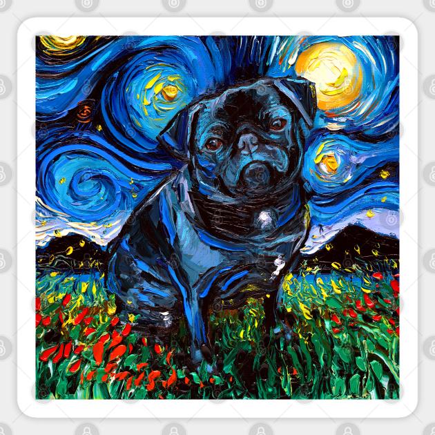 Pugmojis pug stickers cute black pugs by Inkpug fawn and black pug sticker sheets fawn and black pug planner stickers