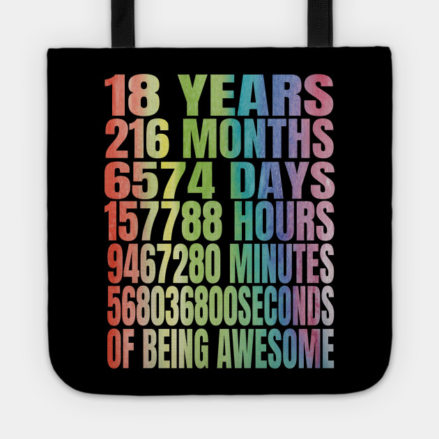 18 Years Old 18th B Day Rainbow Retro Gifts Tote