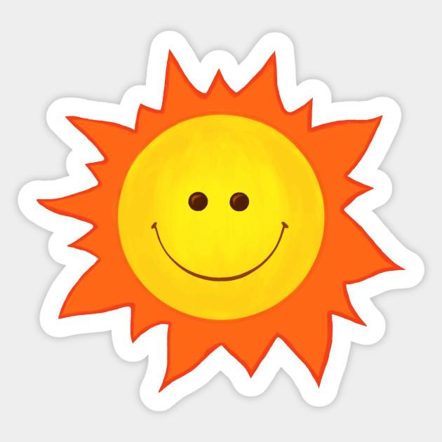Cute Happy Smiling Sun - Happy Sun - Sticker   TeePublic UK