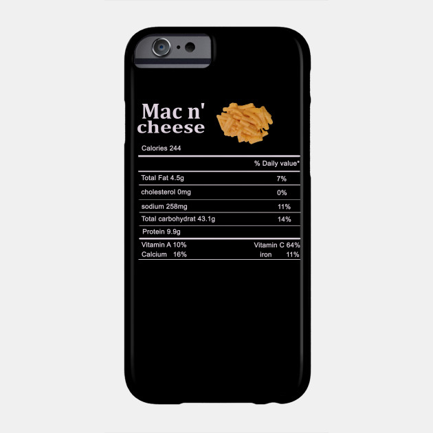 mac n cheese Thanksgiving Nutritional Facts Costume Matching Phone Case