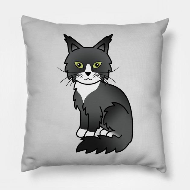 Black And White Maine Coon Cat Cute Cartoon Illustration
