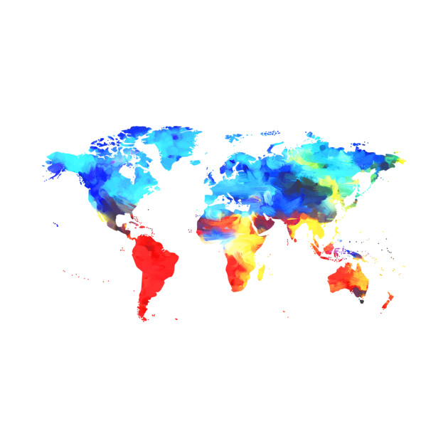 Painted Watercolor Map of the World - Map Of The World - Kids T ...