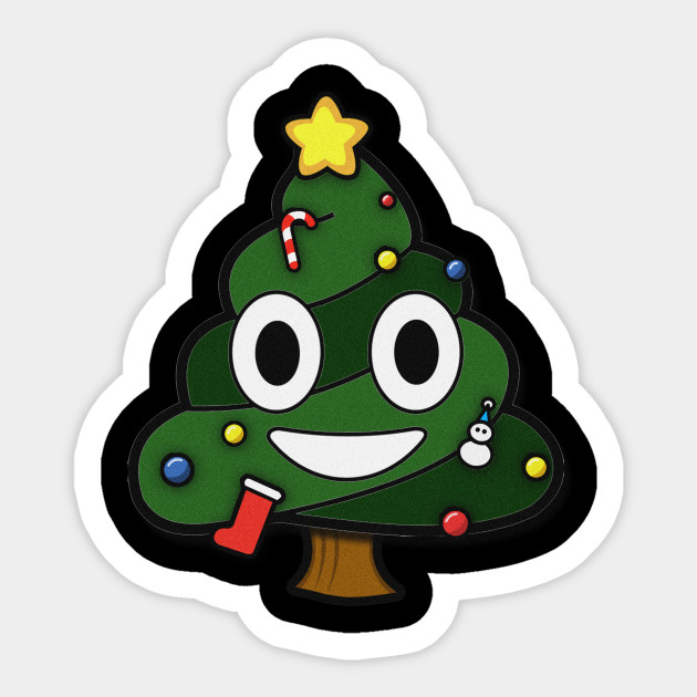 Funny Christmas Tree Poop Emoticon Face