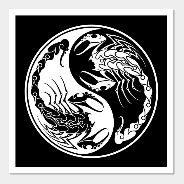 White and Black Scorpions Yin Yang - Yin Yang - Wall Art | TeePublic