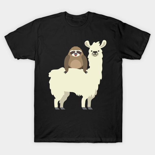 47621cfcb075 Cute & Funny Sloth Riding Llama - Sloth Riding Llama - T-Shirt ...