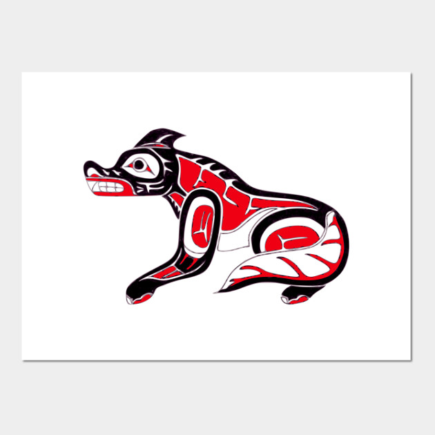 f06bf726b Pacific Northwest Coast Native American Indian Wolf Totem Posters and Art  Prints