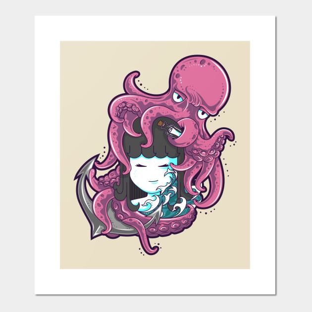 Little girl and octopus