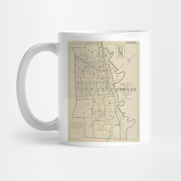 Vintage Map Of Utica New York 1883 Utica Map Mug Teepublic