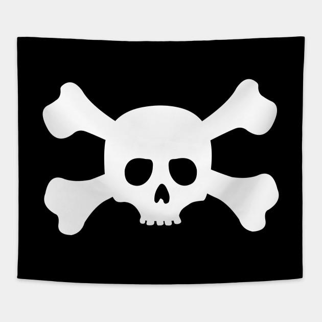 Simple White Crossbones Skull