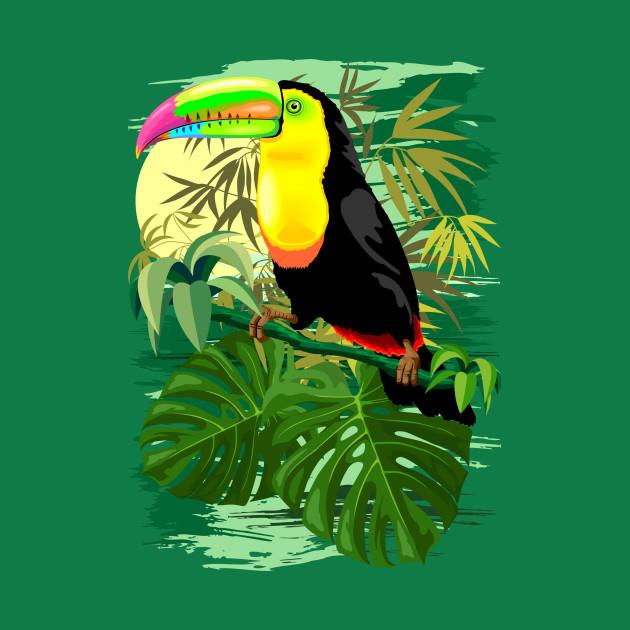 Toucan in Green Amazonia Rainforest