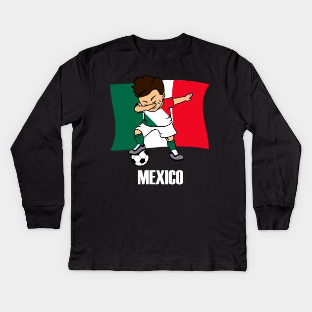 335097289 Dabbing Soccer Boy Mexican Soccer Jersey Mexico Flag Kids Long Sleeve T- Shirt
