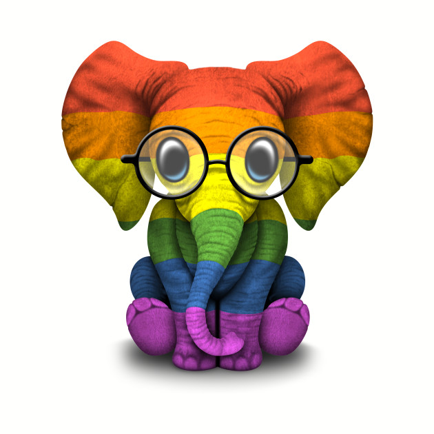 Baby Elephant with Glasses and Gay Pride Rainbow Flag