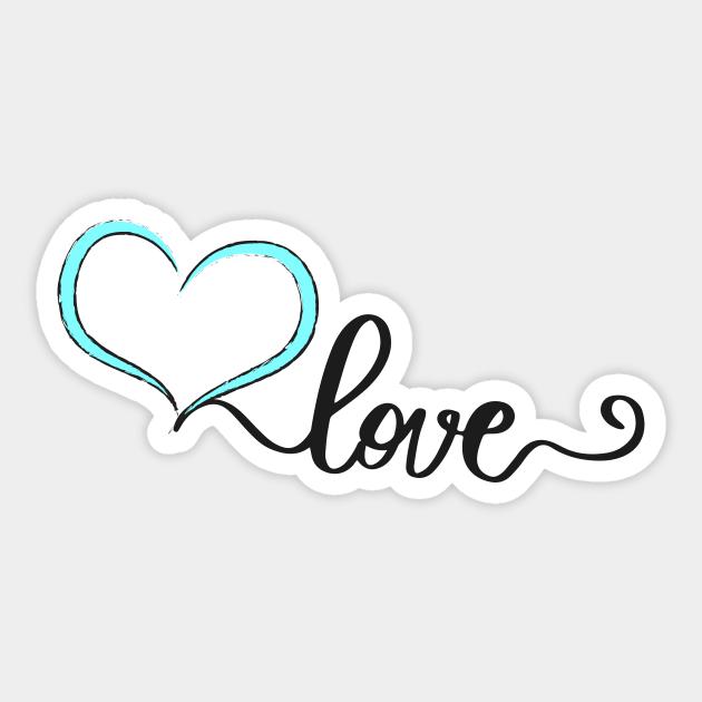 Love Blue Heart Love Heart Sticker Teepublic