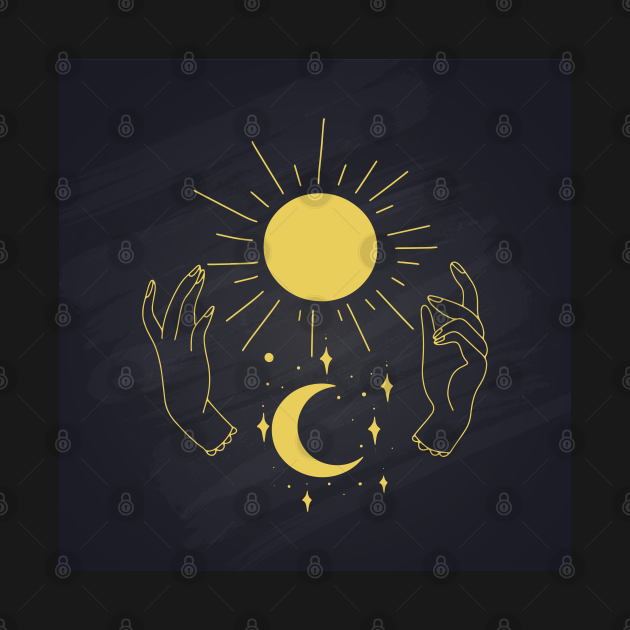 Hands Holding Sun Ray And Moon Crescent, Minimal Wall Art