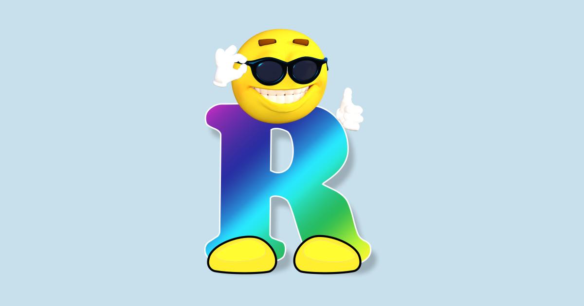 0597d07f Letter R Alphabet Smiley Monogram Face Emoji Shirt for Men Women Kids T- Shirt