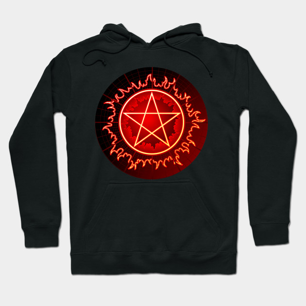 flaming pentagram pentacle in red and black