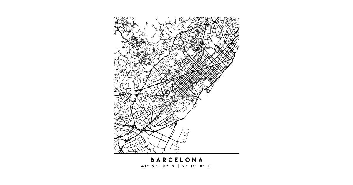 Barcelona In Spain Map.Barcelona Spain Black City Street Map Art Barcelona T Shirt