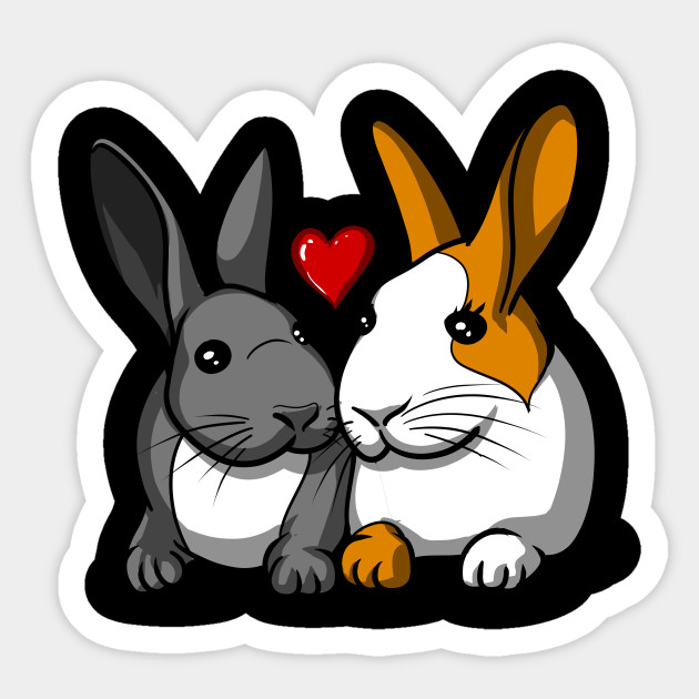Cute rabbit couple romantic bunny lover gift rabbits sticker 2561355 0 negle Choice Image