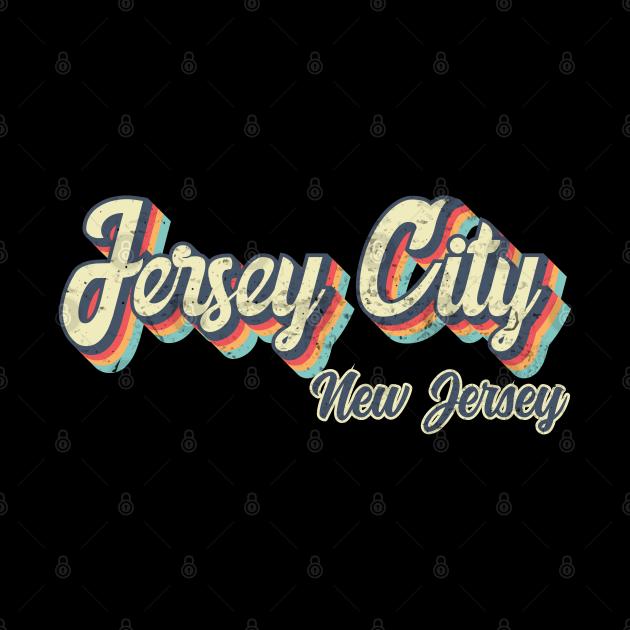Jersey City New Jersey Retro vintage 70s Rainbow design