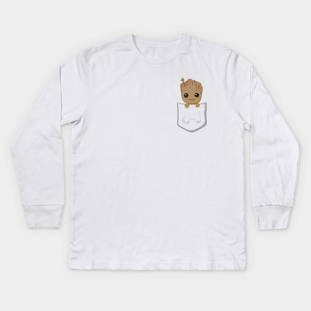 b3d721a70e Pocket Groot - Baby Groot - Kids Long Sleeve T-Shirt