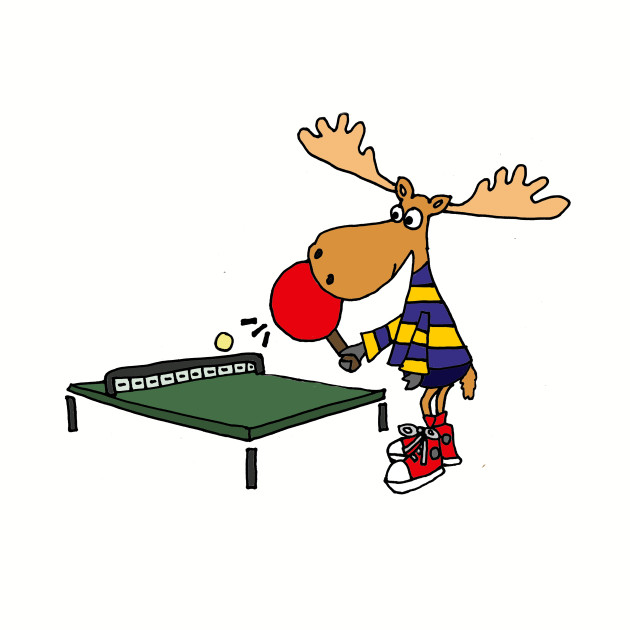 Funny Moose Playing Table Tennis