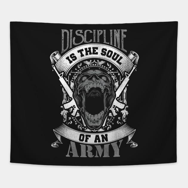 Discipline Is The Soul Of An Army Skull Skull Tapestry Teepublic