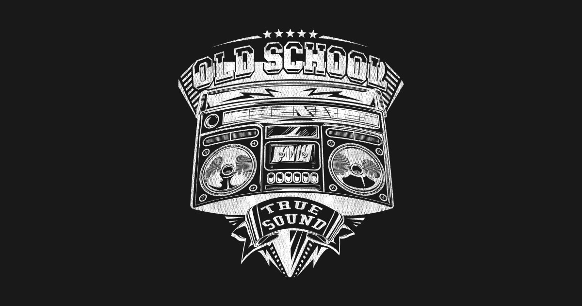 Vintage Old school music emblem with boom box 80s 90s