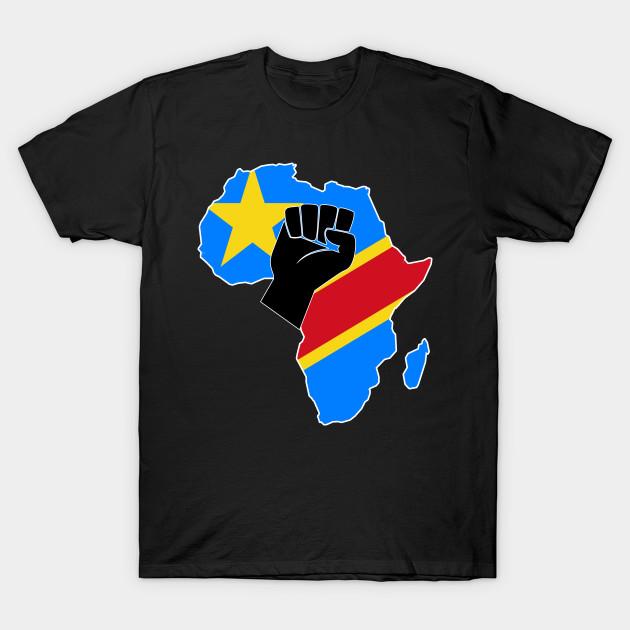 Democratic Republic of Congo flag Africa map raised fist
