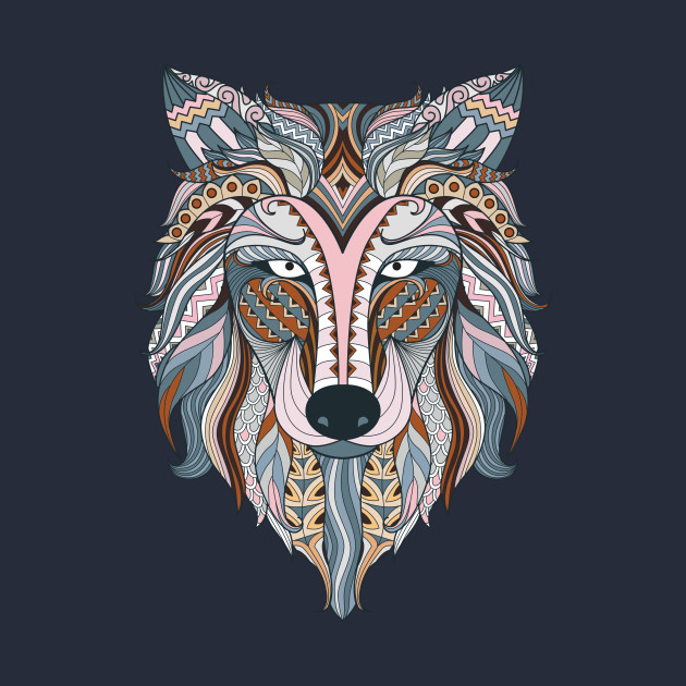 028de409d5133a Colorful Wolf Ethnic Head - Ethnic Wolf - Tank Top