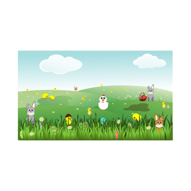 limited edition exclusive easter landscape with bunnies chicks