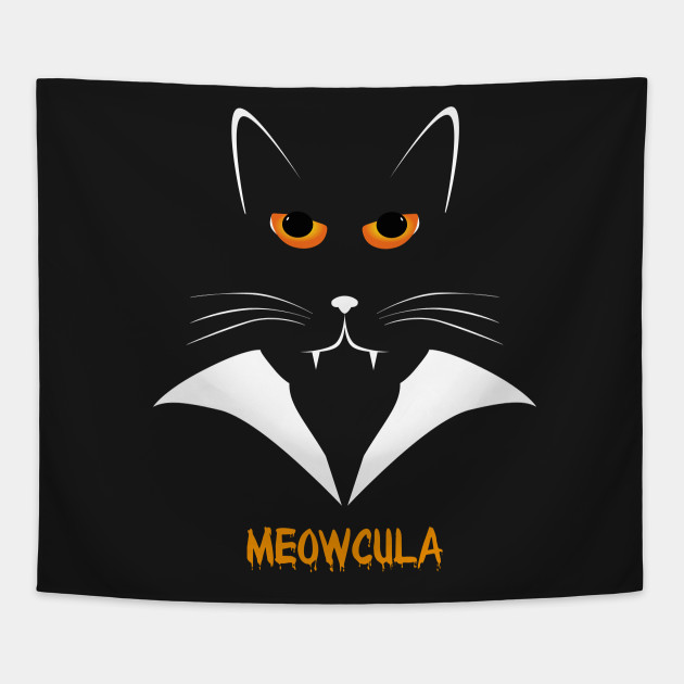 82dad052c Meowcula Funny Cat Vampire Dracula Halloween Tee Shirt gift Tapestry