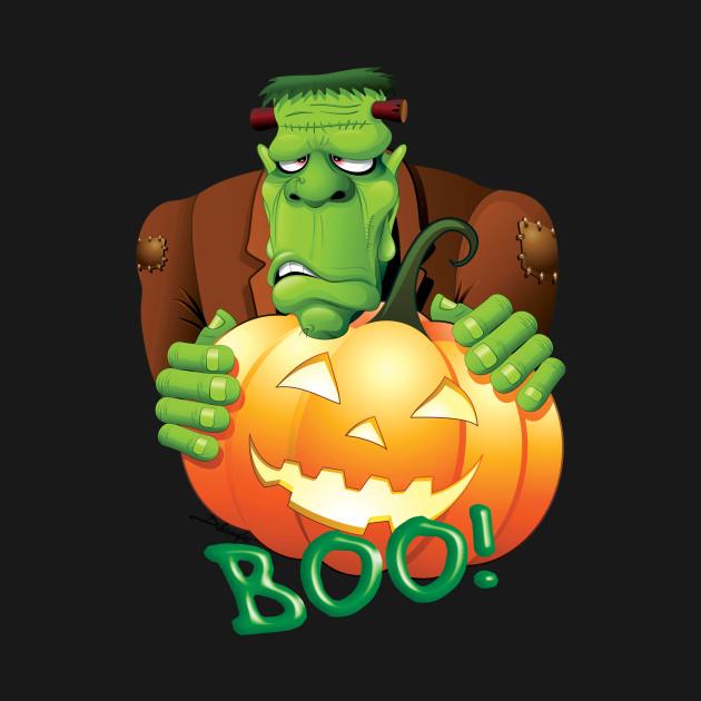 Frankenstein Cartoon with Jack o'Lantern