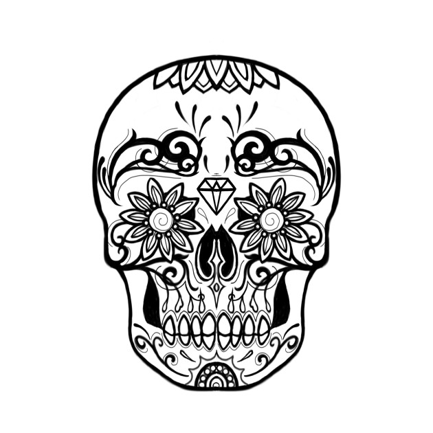 Sugar Skull Black and White Line Drawing