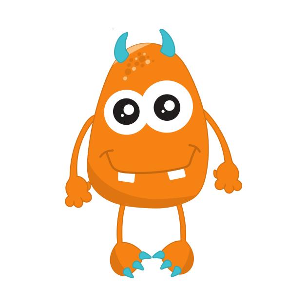 Cute Monster, Little Monster, Orange Monster, Horns