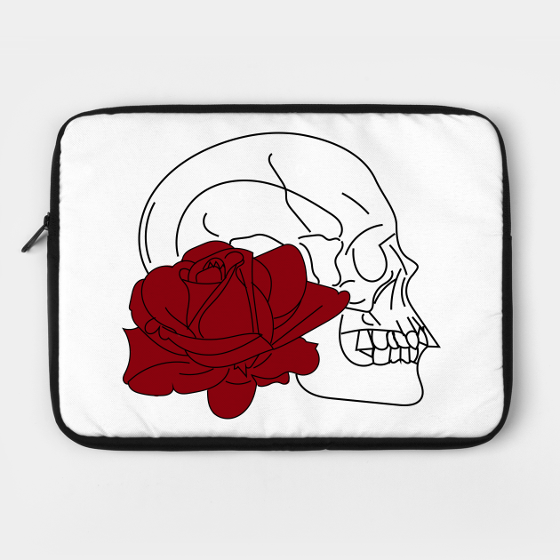 Skull and red rose white t-shirt, stickers, cases, notebooks, pillows, totes, masks