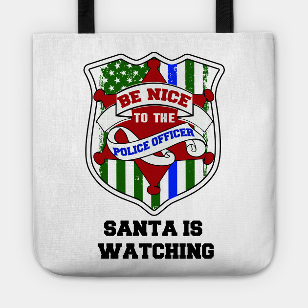 thin blue line christmas police gift Tote