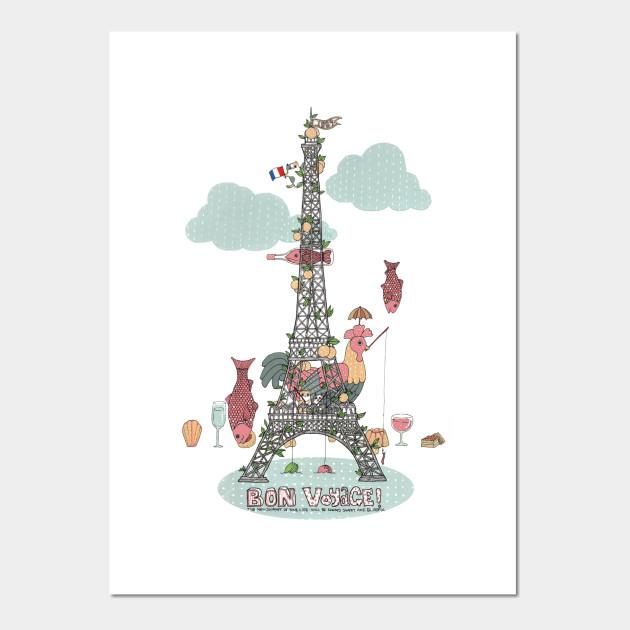 bon voyage eiffel posters and art prints teepublic